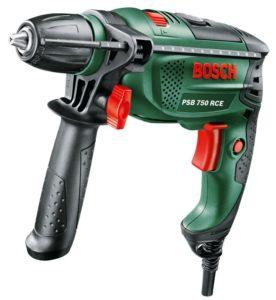 1. Bohrmaschine kaufen - Bosch DIY Schlagbohrmaschine PSB 750 RCE, Tiefenanschlag, Zusatzhandgriff, Koffer (750 Watt, max. Bohr-Ø: Holz: 30 mm, Beton: 14 mm)